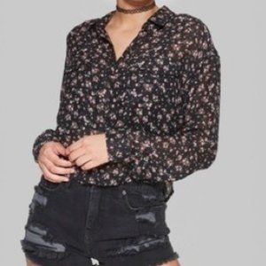 WILD FABLE Black Floral Sheer Crop Blouse M